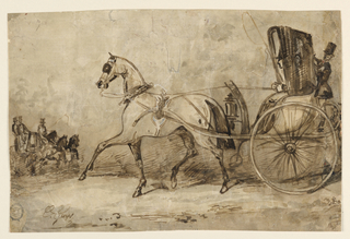 Horizontal rectangle. A gentleman driving a calash with a footman behind. Coming toward him on the left, a coach drawn by two horses with two footmen behind.