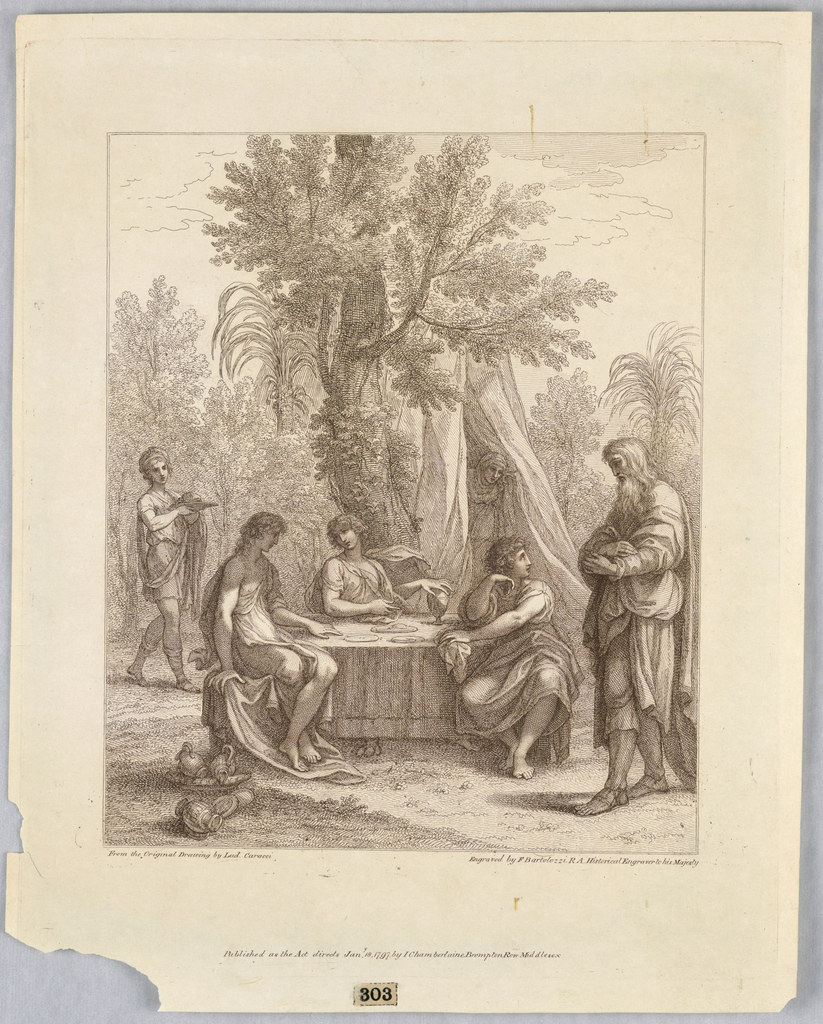 The three angels sit at a table center, with Abraham to the right. The table is set, there are pitchers lower left corner. To the left, a servant bearing a tray, and from a tent beyond, a woman appears.