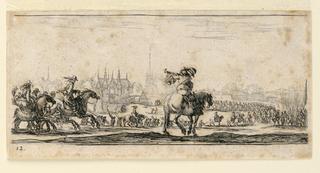 """Print, Plate 12, from """"Desseins de Queleques Conduites de Troupes, Canons, et Ataques de Villes"""", 1610-1664"""