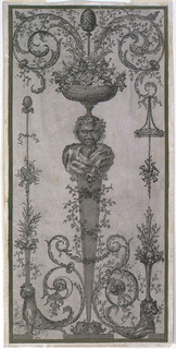 Gaine with the bust of Dionysus supporting a bowl full of bunches of grapes and leaves from which a faun with a thyrsus and two acanthus scrolls rise.  A disk with roses and a trophy are suspended from the scroll at right.  A flower basket standing upon the head of the half-figure of a lion, below.  The left half shows the half-figure of a lion supporting a flower basket over which a thyrsus rises and to which a trophy of pastoral musical instruments is fastened.  Framing strip.