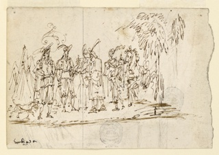 Horizontal composition with a man in a turban followed by two women, and a servant carrying something, approaching two European warriors in their camp.