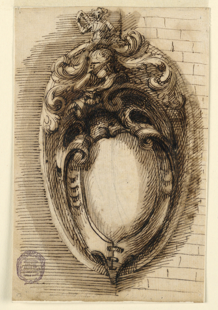 Design for a coat-of-arms escutcheon with a helmet. Placed on the corner of a building.