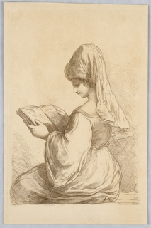 The woman sits facing the left, with a book in her hands. She wears a high conical hat, with a long scarf behind.