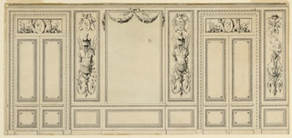 A wall panel with a looking glass is flanked by panels with panoplies and folding doors. Another wall panel is beside the right door. It is decorated with an arabesque, in which doves are billing before the foot of a burning lamp.