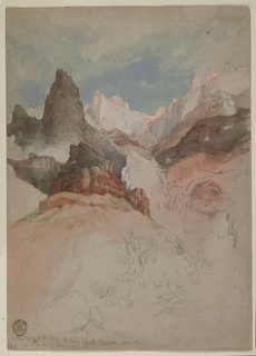 Vertical view up a gorge from the bottom of a canyon. Verso: Graphite study of a mountain range (Acoma pueblo, New Mexico).
