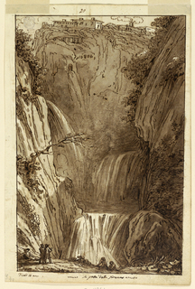 "On recto: two artists are shown, drawing. Three men at the bottom of the falls. Houses of Tivoli visible at the top. Framing line and caption: ""Tivoli 10 – la grotto della sirena;"" ""20"" at the top. On verso: sketches for ceiling with fifteen panels, quarter of a ceiling with winged genii, plant candelabra, three curved friezes with grotesque animals. ""21"" above."