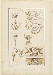 Top left, a mask of a human figure with horns from which are suspended tassels. Under it, a nude female figure seen frontally, seated on a sheet held in both hands, arms extended. Upper right, a motif showing a nude trumpeter standing on a rinceau, and beside him a putto astride a unicorn, and below, another putto carrying a banner. Center left, a winged herm supporting a shelf. Center, a winged terminal figure seen frontally. Lower left, two vases, one in the form of a pitcher whose handle terminates in a human figure who pours liquid into the vase over his shoulder. Lower right, two winged genii flank a medallion showing a putto seated by an urn, and below, two putti embrace over paired volutes flanking a medallion but portrait.
