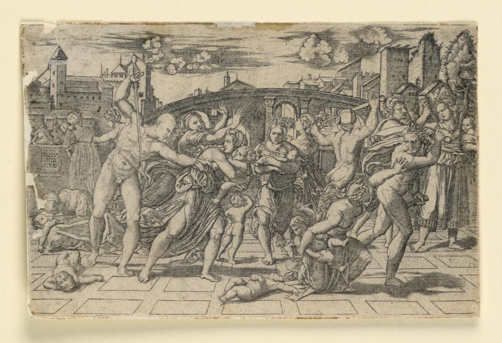 It is a copy in reverse of Marc Antonio's engraving. Action t aking place in foreground.