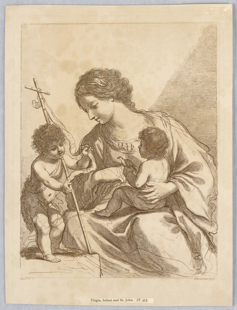 The Virgin sits center, with the Infant on her lap. He holds a bird in his hand. St. John, also an infant, stands on a table at left, wrapped in an animal skin, holding his cross and banner.