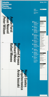 """Poster, """"Spring 1990"""" poster for Columbia School of Architecture lecture series, ca. 1990"""