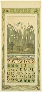 Print, Design for a Calendar (February), 1911