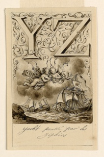 Letters above, flanked by intertwining rinceaux. Two sailing ships blown by wind.