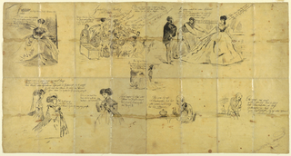 Eight vignettes, with accompanying text in German and French, showing several scenes with figures. Top register shows a scene with a seated woman; then a group of people sitting at a table; and a woman and man with a tailor measuring her dress. Below, register shows two women in profile; a woman drinking from a teacup; a man drinking from a glass; then the same man hunched over clutching his stomach. There is text throughout in black ink.