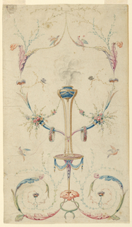 Two rinceaux are connected by two snakes and a leaf.  The latter forms, together with a calix, the support of a round table top, upon which a bowl stands on three tall legs.  Smoke emerges from the bowl. Two cornucopias are placed in the ring connecting the legs. Stems in heart form spring from them. Above, two birds sit upon festoons.