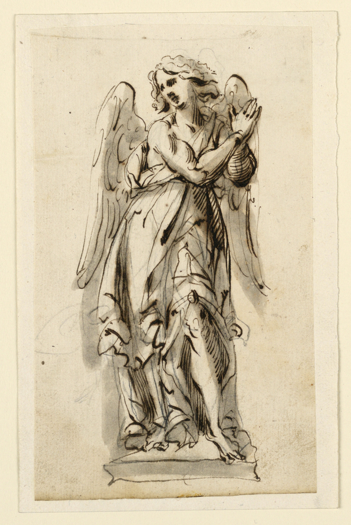 Vertical rectangle. Design for a sculpture of a female angel shown from the front, standing upon a base, hands clasped together at left shoulder.