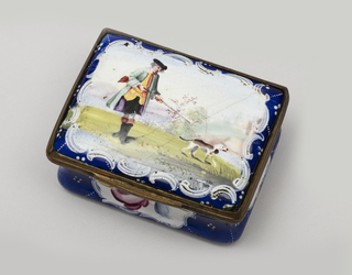 Oblong with concave sides and hinged cover slightly domed, with moulded mounts and V-shaped thumb-lift. Dark blue ground sparsely patterned with lozenge shapes in raised white dots; white reserve panel on each side, framed by raised white scrolls, contain floral sprays, a rose on face. Cover has landscape painted over transfer of man with gun, in blue-green coat with purple lining and yellow waistcoat, and hunting dog; stream in background. Scene framed by raised white scrolls and portion of blue ground, left all aroundior and underside in white.
