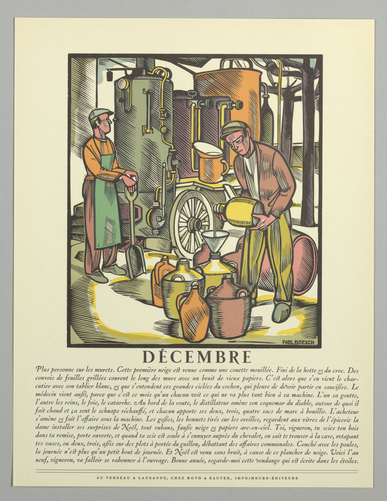 Print, La Grande Anne Vignerone (series of twelve woodcuts depicting the months of the year)