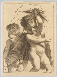 The larger boy, at right, gestures to the right while holding high in his left hand the ends of a covering about the second boy, who stands with his back to the observer, looking towards the left.