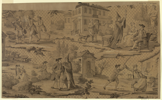 "Four vignettes on a patterned ground for the design of a textile illustrate Moliere's comedy, ""Le Medecin Malgre Lui"" (The Doctor in Spite of Himself). The scenes shown include: upper left, Sganarelle surprised in a woods by Valére and Lucas (Act I, Scene 6); upper right, Sganarelle, in physician's dress, tells Géronte of his daughter, Lucinda's illness (Act II, Scene 6); lower left: Sganarelle engages Géronte in conversation, while Lucinda escapes with her lover, Leandre (Act III, Scene 7); lower right, Sganarelle is interruped from beating his wife by Robert (Act I, Scene I). The scenes are set against a diamond-patterned ground, with shaded squares at the intersections."