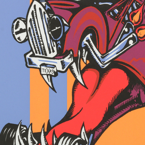 Poster for concert on July 31, 1994, at the Astroarena. Six color screenprint: on top of background of blue and orange vertical stripes, illustration of a red and purple racing car whose front end is rearing up, forming an image of an open, fanged jaw with forked tongue emerging. Headline is inset in black oval on top third of sheet: THE COWBOYS FROM HELL! / PANTERA / SEPULTURA / PRONG; lower section: ASTROARENA / ALL TICKETS AT TICKETMASTERS / CHARGE BY PHONE 713 629 3700  SUNDAY / JULY 31.