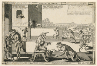 Horizontal rectangle. Groups of monkeys on a monumental platform, in the foregound. At the center, one monkey, wearing a sword, kneels before another dressed as a royal personage, seated on a tabouret facing right. Enclosed in frame. Title above, center.