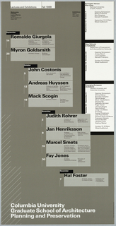 "Poster, ""Fall 1988"" poster for Columbia School of Architecture lecture series, ca. 1988"
