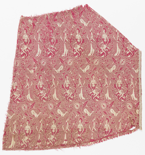 Fragment of woven silk shaped as if part of a skirt, with figures of a boy holding a deer and woman on either side of a flowering tree. Figures in cream, repeated in mirror image in alternating rows, alternating with rows of leaping gazelles, on a ribbed ground of red and silver.