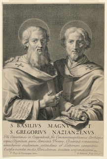 """St. Gregory faces frontally, at the right, with his arm about St. Basil's shoulders. St. Basil is turned slightly to the right, and is pointing at St. Gregory. Both hold scrolls inscribed in Greek. Below, the title: """"S. Basilius Magnus et S. Gregorius Nazianzenus"""", an inscription, and the artists' names."""