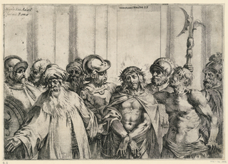 Horizontal print of Christ, seen frontally, crowned with thorns and being mocked; eight other figures; all shown half-length.