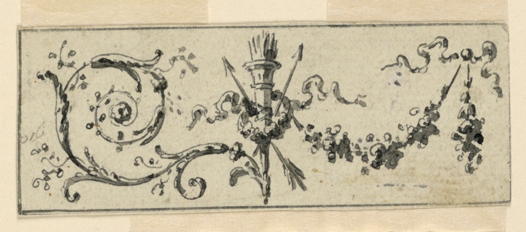 A quiver in front of two crossed arrows and surrounded by a wreath is suggested as a central motif between festoons, at right, flanked by rinceaux, at left. Rectilinear framing line surrounds. A measurement is written near the left edge.