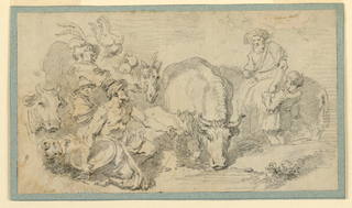Cattle at a watering place.  At right, stand an elderly man and a boy.  At left, kneels a man with a turban, and a child holds a Chinese cup. Jars and a cock are shown upon a horse, beside which a man stands.