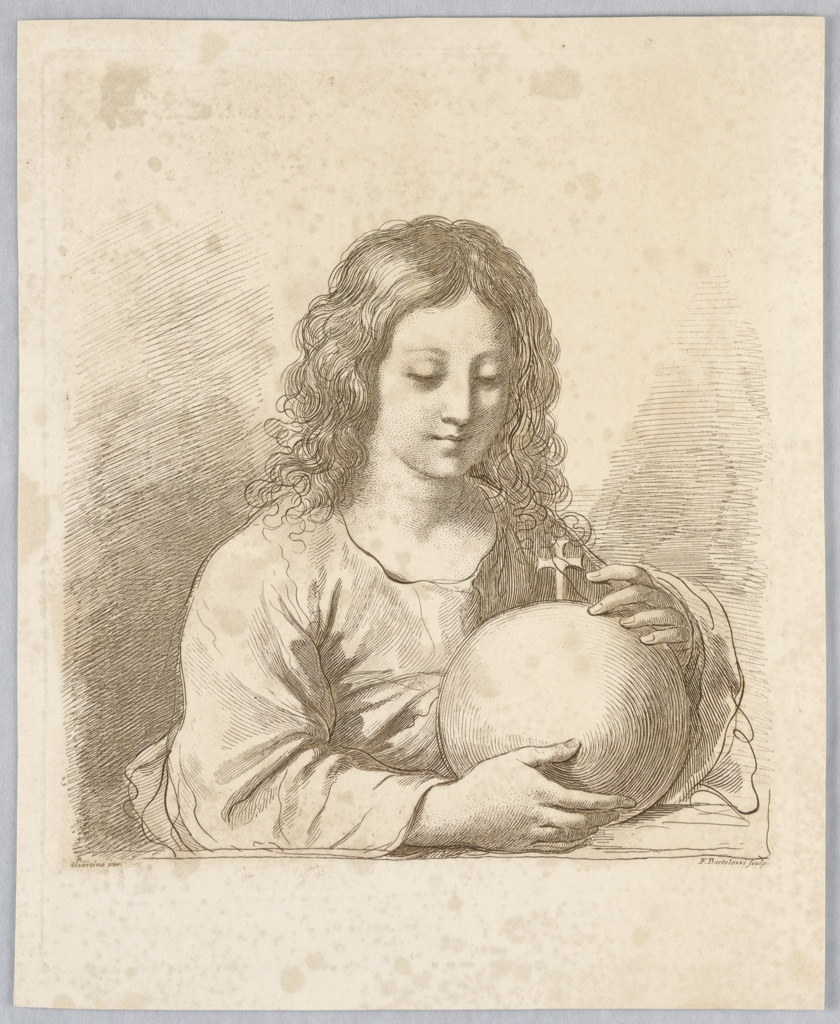 The young man sits at a table, with both hands about a globe surmounted by a cross to his left.