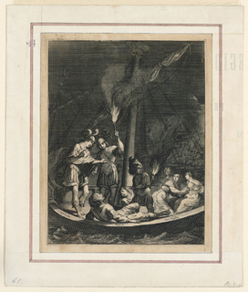 Four women, three soldiers and another man are in a small boat near a rocky shore with a castle. Night scene.
