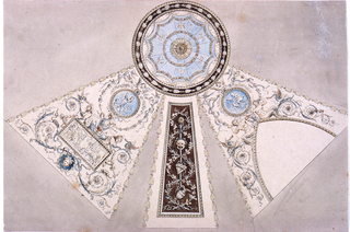 Shown is a central medallion with three radiating quadrangles. The medallion shows a framed tent motif. The left quadrangle shows two nudes seated on a pointed arch. Medallion above. Center quadrangle shows two entwined boughs and a ribbon hung with a mask, flute and ewer. The right quadrangle shows a tablet with a centaur surrounded by grotesques. Medallion above.
