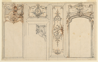 Drawing, Design for a Wall Elevation with Wood Paneling, ca. 1720