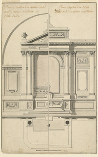 The proportions are stressing the height. In the left half the upper part of the apsis is indicated. Captions above either half, written with ink.