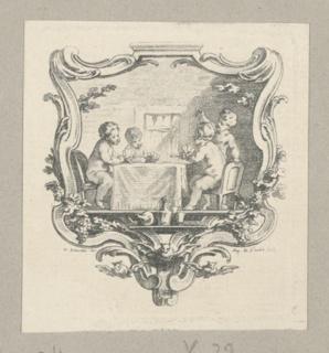 Like -7. Children at a card game; in escutcheon. By Augustin de Saint-Aubin (1736–1807). Devised by Hubert-François Bourguignon, called Gravelot (1699–1773). P. 33 Bocher 538. Signed.