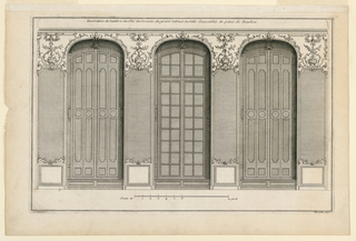 "View of the wall with three windows in shallow niches. Panels between them with mirrors. Paneling above windows and mirrors with scroll decoration with small trophies. Inscribed, upper margin: ""Decoration du Lambris du côté des croisées du grand cabinet ou Salle d'assemblée du palais de Bourbon""; lower right: ""Mariette exc."""