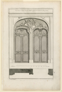 """Two double doors in a joint arch, both doors with different carving. Joint overdoor with alternate suggestions or rocaille volutes and flowers. Below, profiles. Inscribed along upper margin: """"Decoration d'une Porte double à placards, variée de deux facons""""; lower left: """"mariette excudit""""; lower right: """"3""""."""