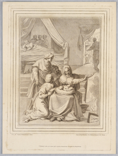 Pryyhus lies on a cushion in his mother's lap, as she dries a cloth near the fire, right. Three women are looking on, left, while beyond, another is lying on a bed, three figures behind her. To the right, three more in a doorway.