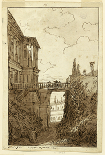 View of bridge over water, in center, leading to classical building on left; figures walking across bridge. Two figures at right walking with bundles/baskets on heads. In margin, caption: 9; Caprarola On verso, in black ink, allover designs of wall decorations and paintings: Decorated pilaster, wall panels, entablature and vaulted ceiling; below is a dado, with frames, a cargo boat, figures.
