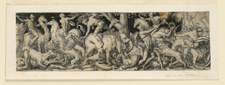 """Frieze showing combats between men and lions, an elephant, dragon, unicorn and other animals. Perhaps represents """"Africa."""""""
