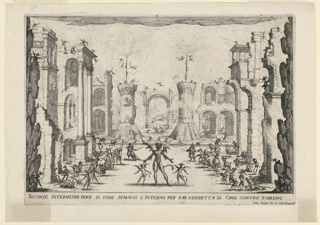 """Horizontal rectangle. A set design: the second intermezzo of three for a theatrical work by Andrea Salvadori, """"La Liberzione di Tirenno, e. D'Arnea."""" This one is labelled """"Hell arming itself for the vengence fo Circe against Tyrene."""" A street lined with high buildings and ruins, a sea beyond, flames and demons scattered everywhere. Below, title and artists' name."""
