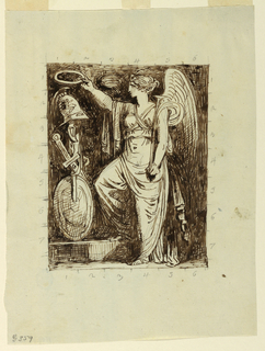 A female genius is shown turned toward left and holding a wreath over a trophy of arms. A trumpet is in her left hand. Division marks in graphite.