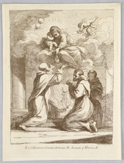 The three saints in religious habits kneel on the floor, with pillars beyond. Between them, in smoke, an angel is drawing up souls. Above their heads, the Virgin sits on a cloud, with Christ beside her and putti around. She reaches down to the saints.