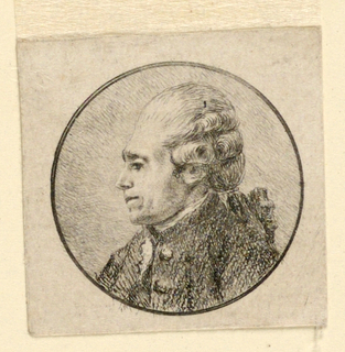 Within a circular medallion, a middle-aged man's head seen in left profile, wearing a wig. Portrait of Joseph-Marie Vien.