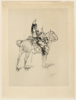 A mounted cavalry officer is seen from the back, right, holding a raised pistol in his right hand.