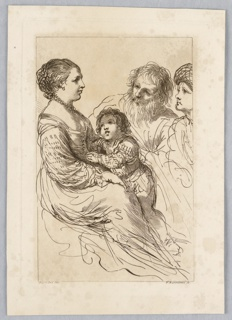 The lady sits at left, facing right, with the boy climbing into her lap. The old men, at the right, look at her.