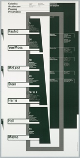 Vertical layout of text and abstract references to archetectural elements, predominately intersecting rectangles. Gray green, black and gray on a white ground.