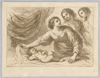 The boy lying on a table or bed before a curtain. One woman is moving his covering, two others, to the right, look on. Below, the artists' names and place and date.